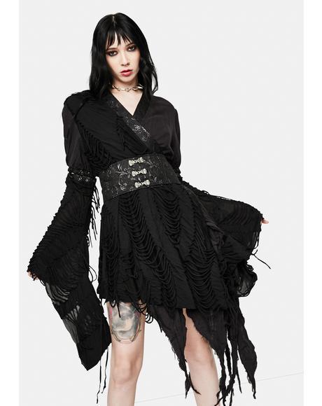 Gothic Asymmetric Wrap Dress