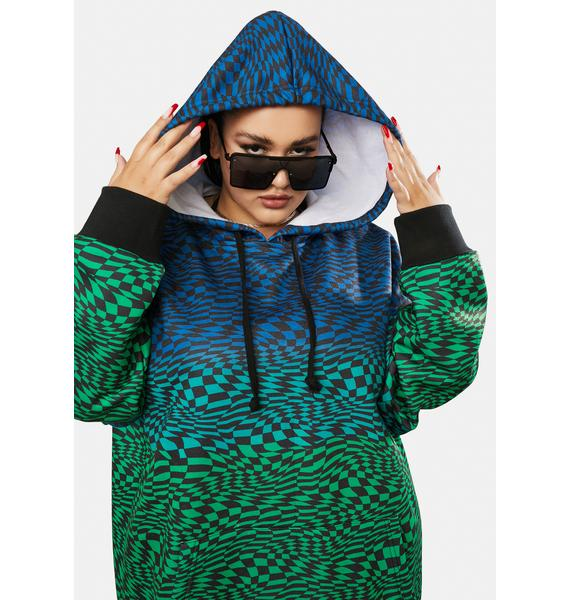 Poster Grl Her Warped Realm Checkered Oversized Hoodie