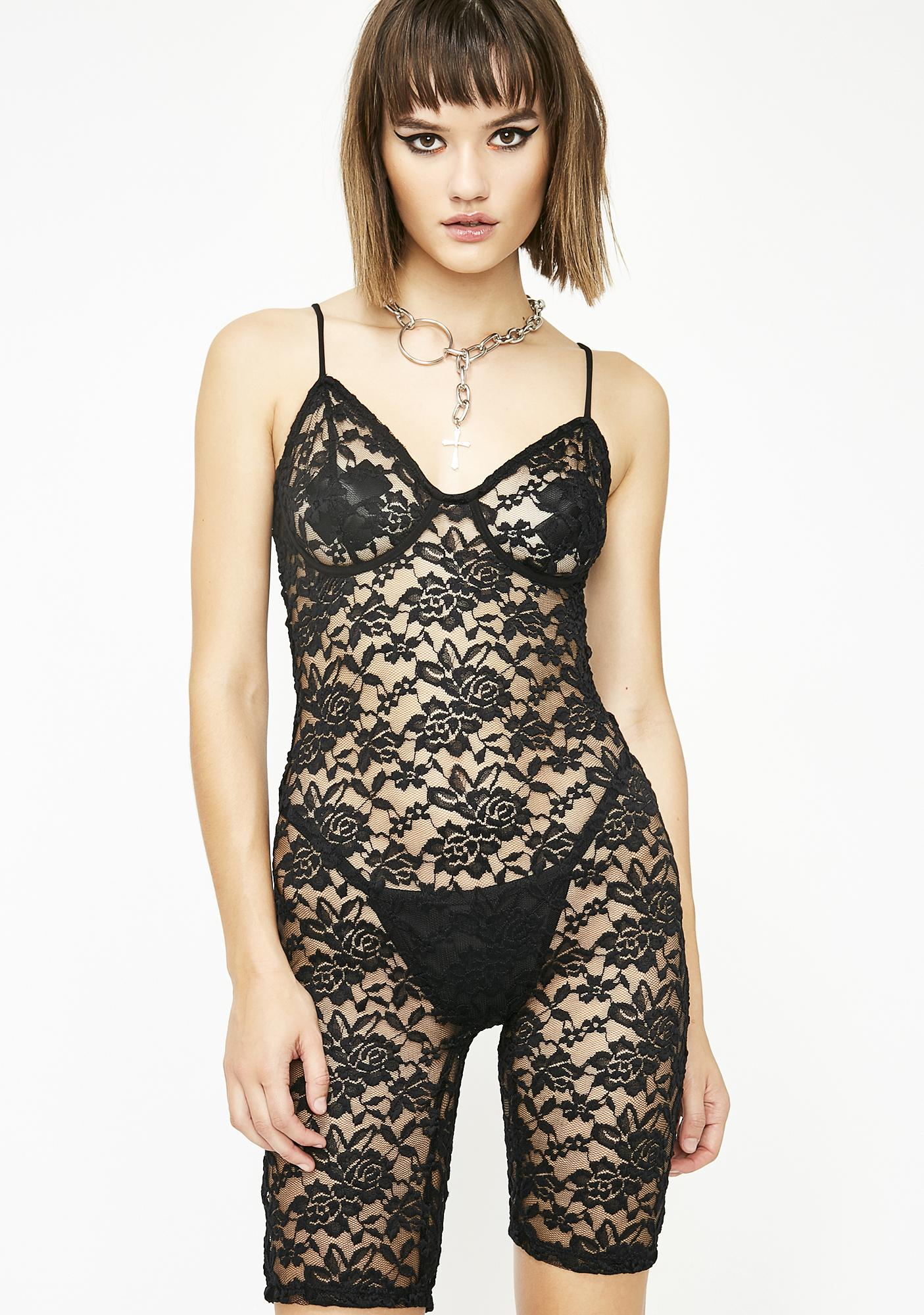 Sinful Neon Seduction Lace Romper