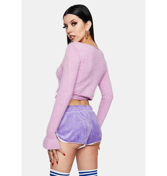 Sugar Thrillz Lilac My New Ensemble Velour Booty Shorts