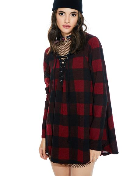 Kickback Plaid Lace-Up Hoodie