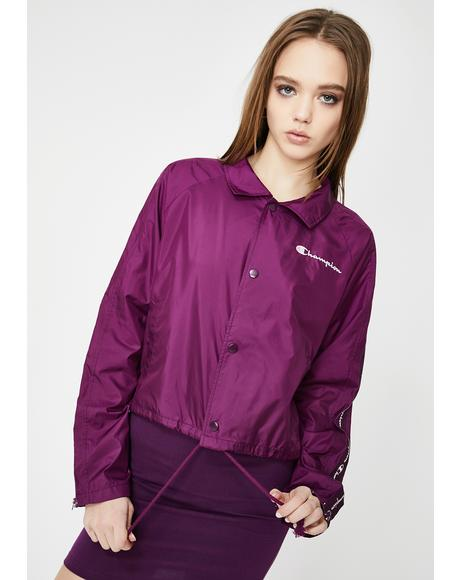 Venetian Purple Cropped Coaches Jacket