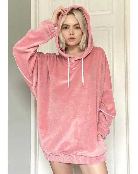 Pink Velour Hoodie Sweatshirt