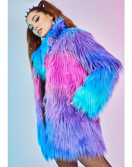 Rarely Regular Gradient Faux Fur Coat
