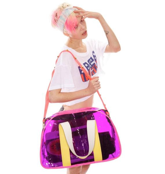 Plastic Gym Bag With Gold Bomb Studs