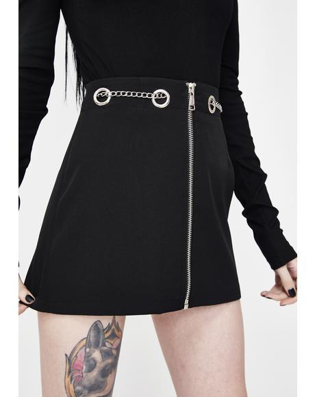 Chain Belt A-Line Skirt