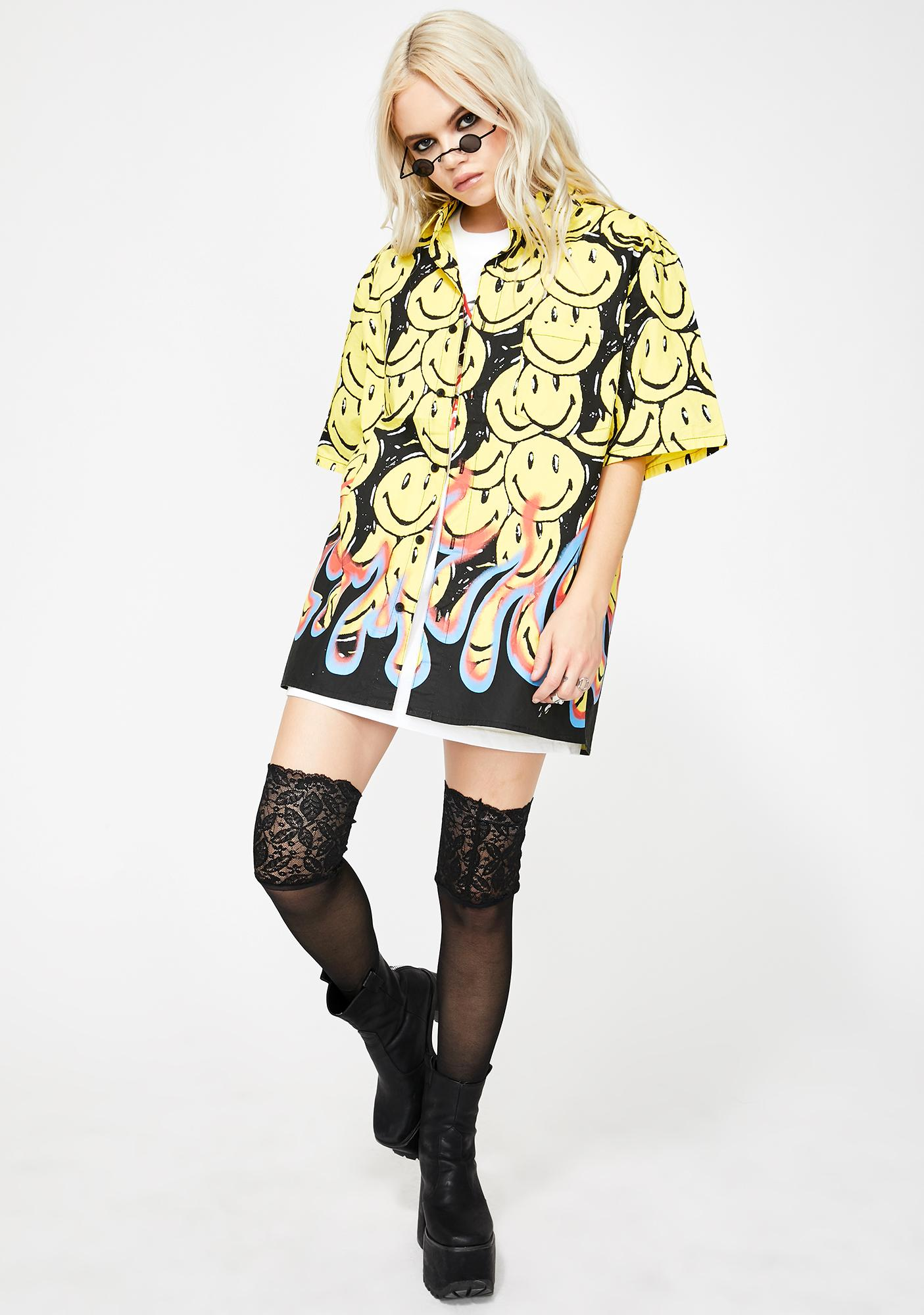 CHINATOWN MARKET Smiley Flames Button Up Shirt