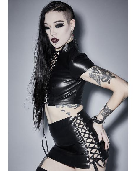 Root Of Evil Lace Up Skirt