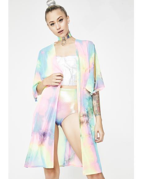 Love Is My Drug Tie Dye Kimono