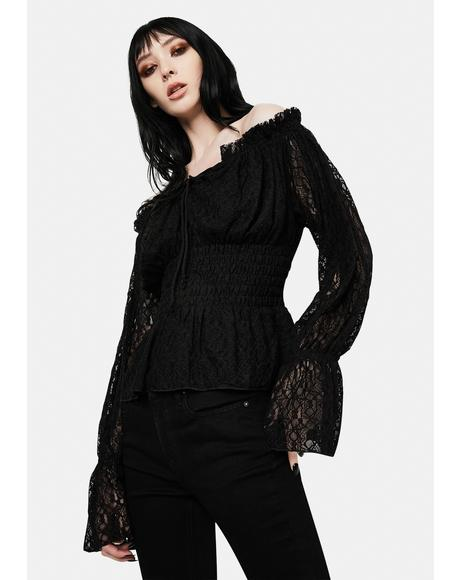Lace Flute Sleeve Off The Shoulder Top
