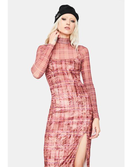 Alternative Delusions Plaid Maxi Dress Set
