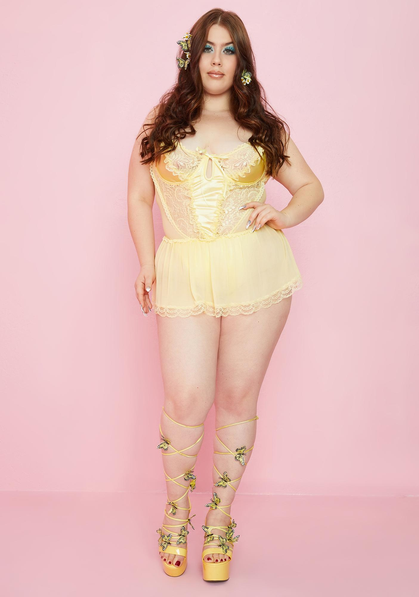 Sugar Thrillz Lux Lemon Spoiled But Not Rotten Lace Teddy