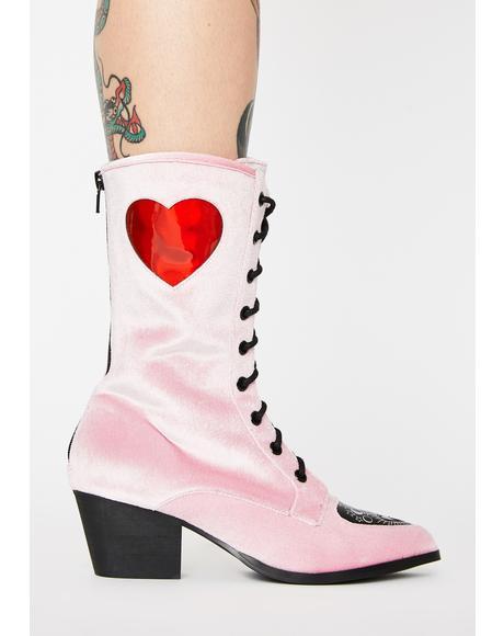 Spirit Heart Velvet Boots