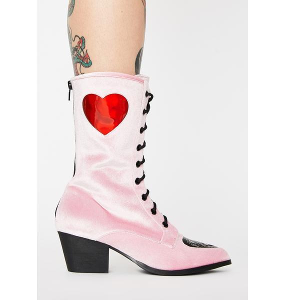 Strange Cvlt Spirit Heart Velvet Boots