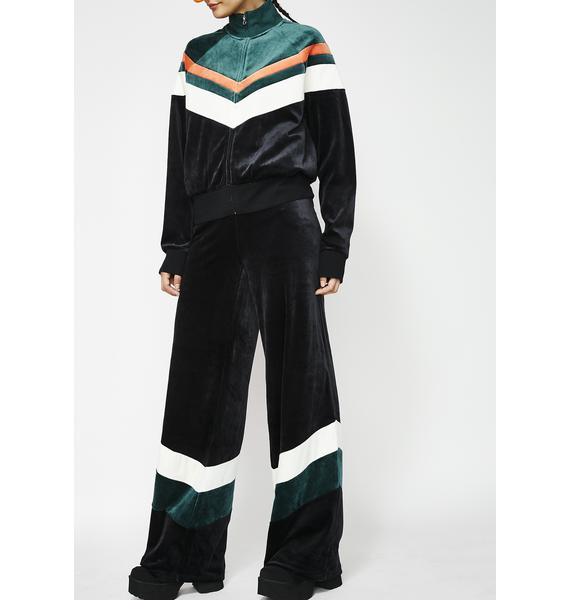 JUICY COUTURE Colorblock Lightweight Velour Wide Leg Pants