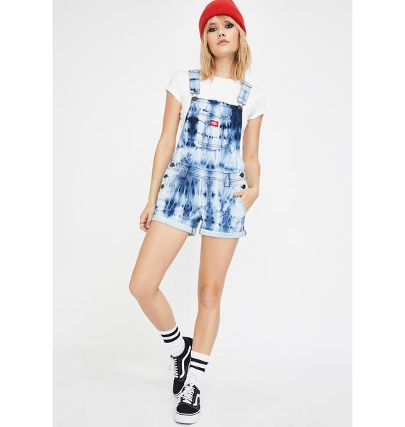 Dickies Girl Roll Hem Navy White Tie Dye Shortalls