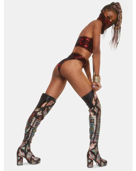 Thru The Looking Glass Thigh High Boots