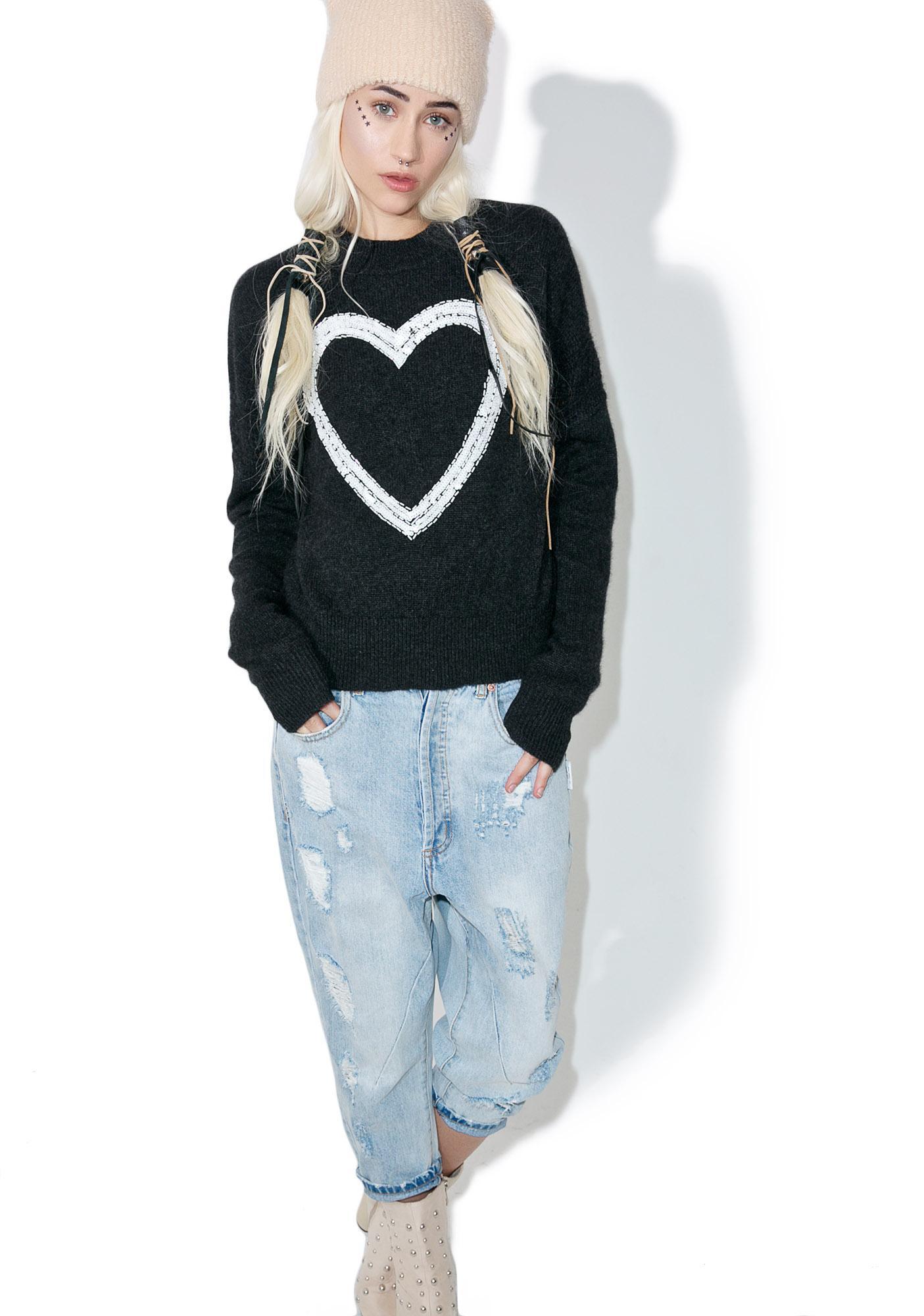 Wildfox Couture Glitz Heart Gainsborough Sweater
