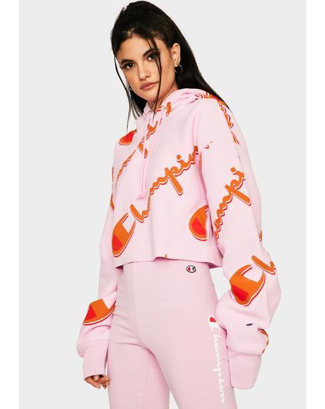 Pink AOP Reverse Weave Cropped Hoodie