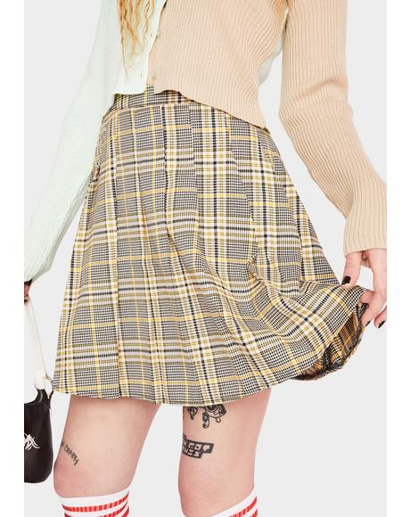 Check Tartan Pleated Skirt