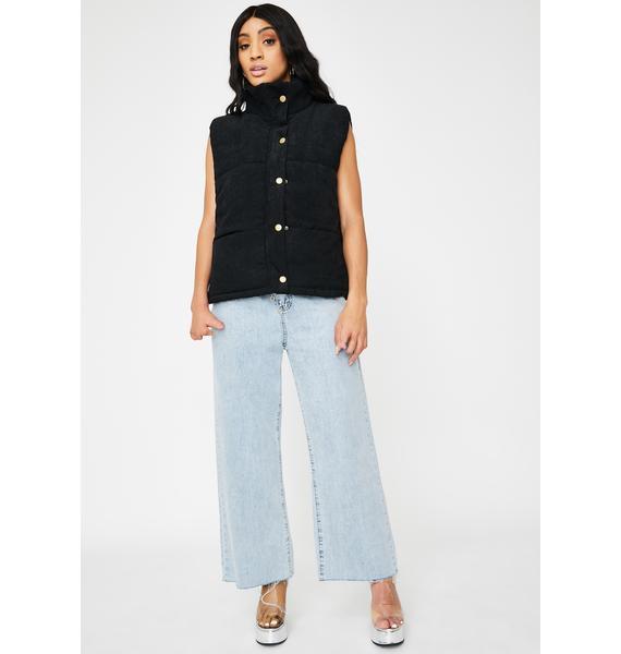 ZEMETA Black Velvet Puffer Vest