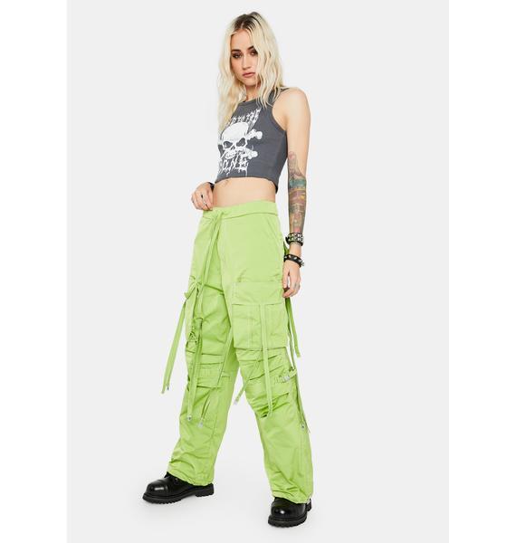 DOOM 3K Neon Green Techwear Shuffle Pants