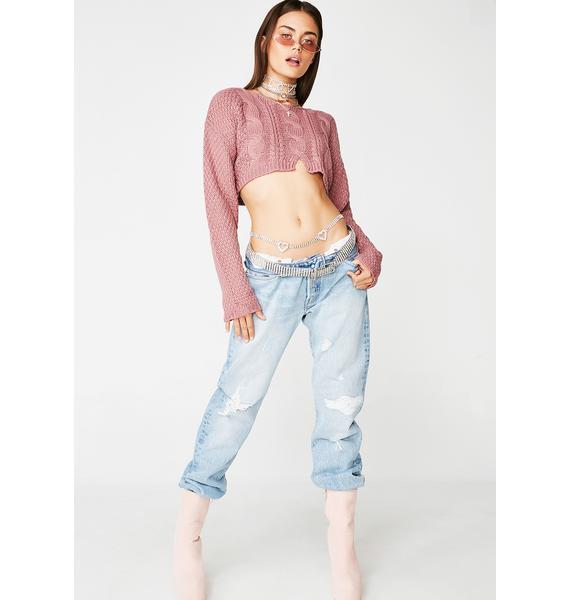 Blush Warned Ya Cropped Sweater