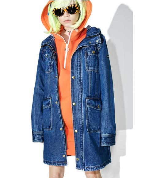Hooded Denim Coat
