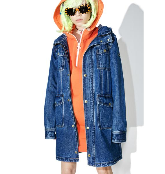 x-Girl Hooded Denim Coat