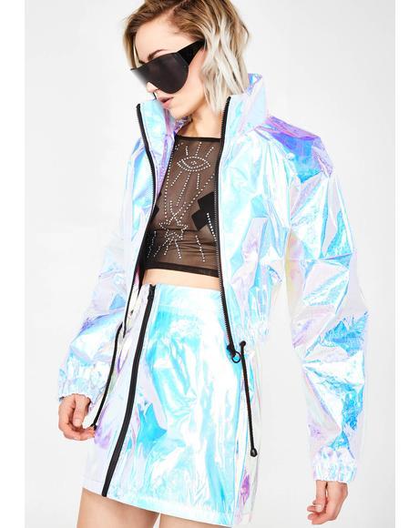 Blue Crinkle Foil Mini Skirt