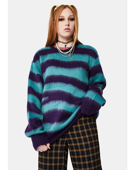 Green Striped Dream Crewneck Sweater