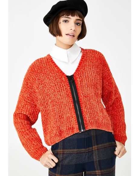 Orange Zip Up Cardigan
