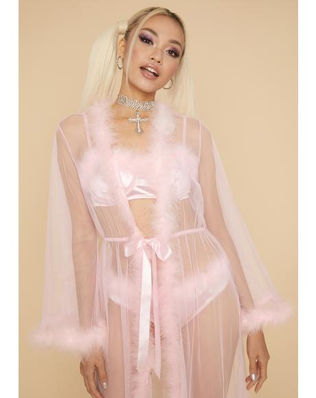 Glamorous Seduction Marabou Mesh Robe