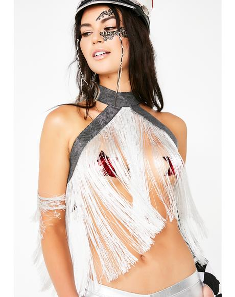 Chrome Fringe Halter Top