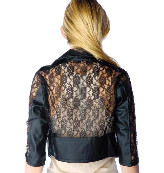 Lip Service Lace Cropped Moto Jacket
