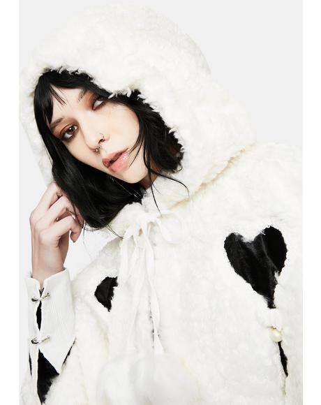 Lolita Heart Shaped Hollow White Plush Cape