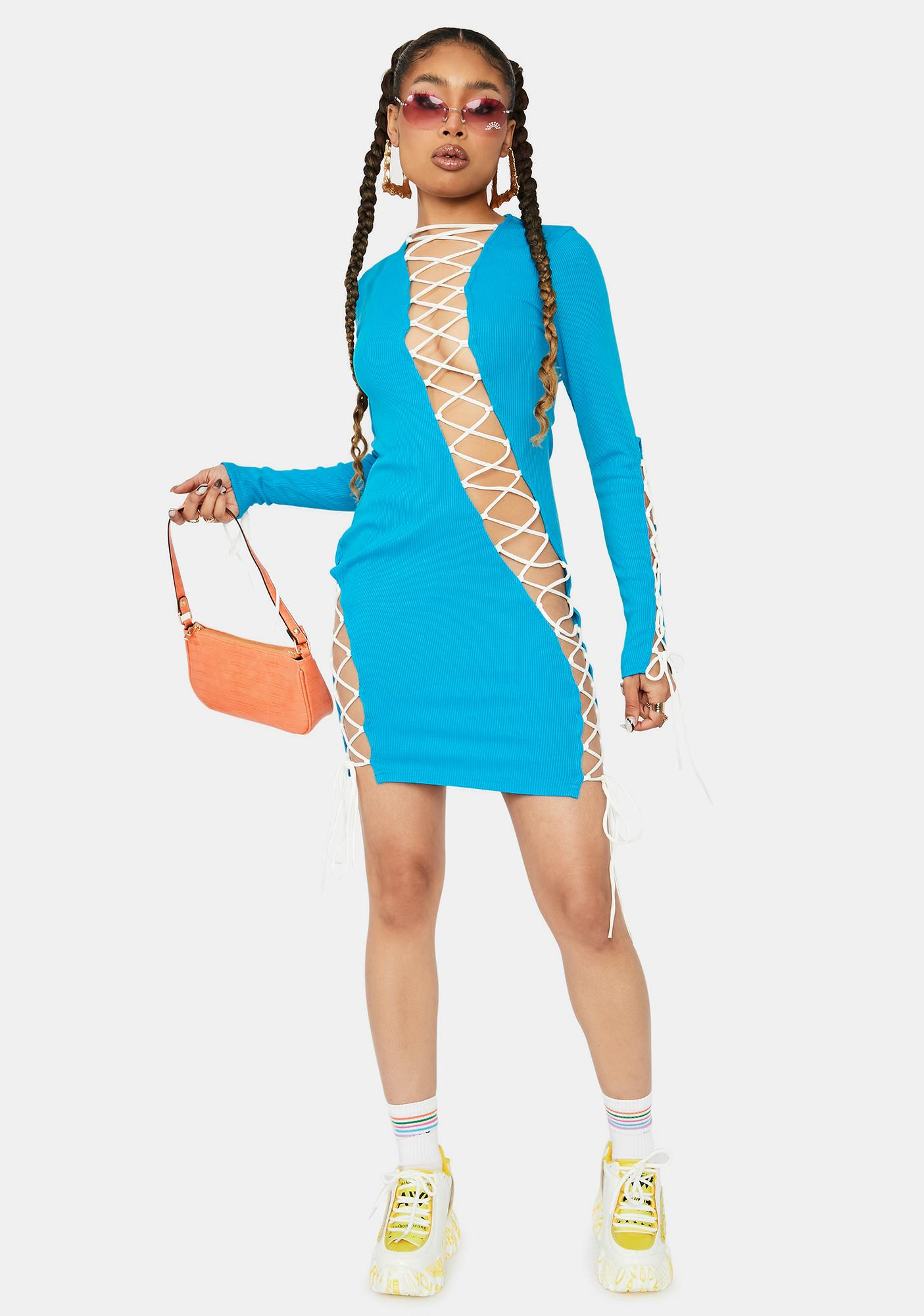 Aqua Future Groove Lace Up Bodycon Dress