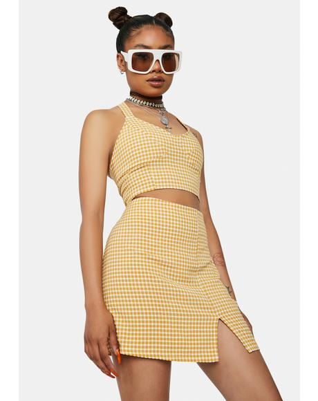 Crush Call Me L8r Gingham Mini Skirt Set