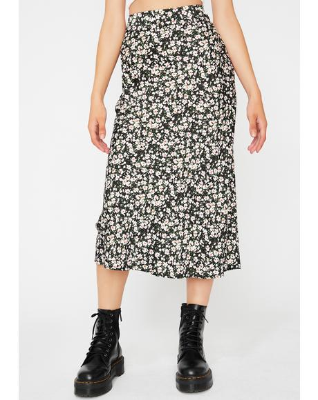 Wicked Floral Fantasia Midi Skirt