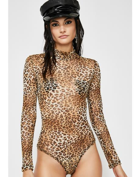 Cheetah Chase Mock Neck Bodysuit