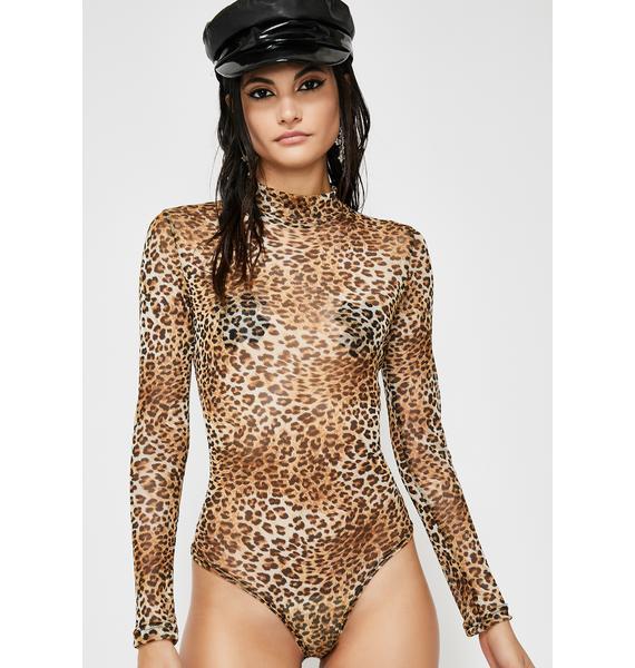 Cheetah Chase Mock Neck Bodysuit