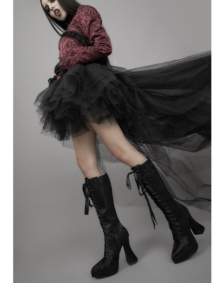 Paint It Black Satin Knee High Boots