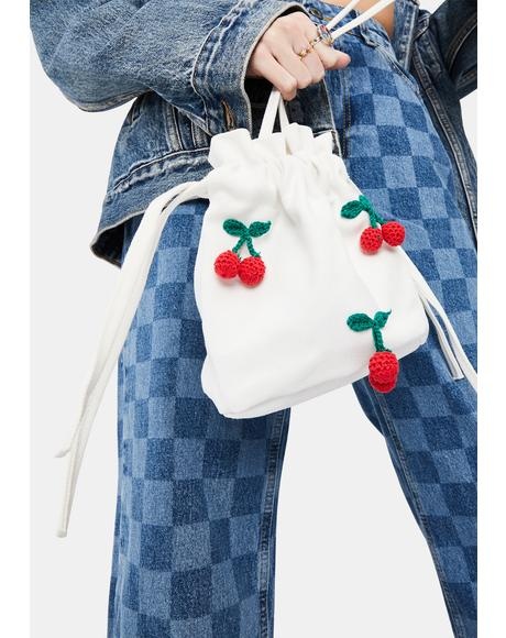 Pure Cherry Luv Drawstring Bucket Bag