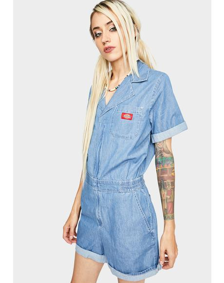 Light Stone Wash Denim Shortalls