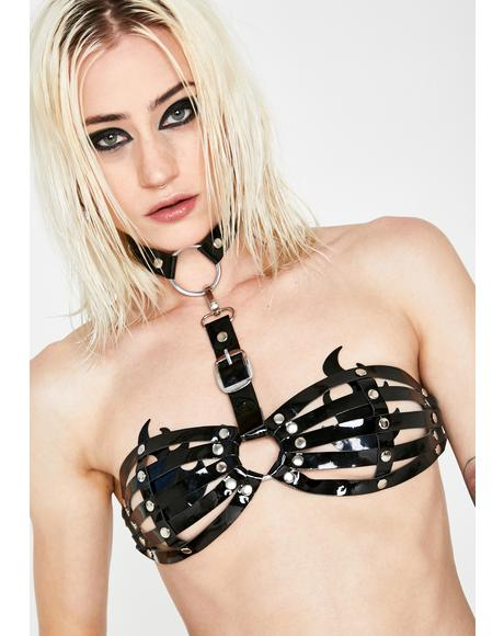 Black Bra Harness With Attached Choker