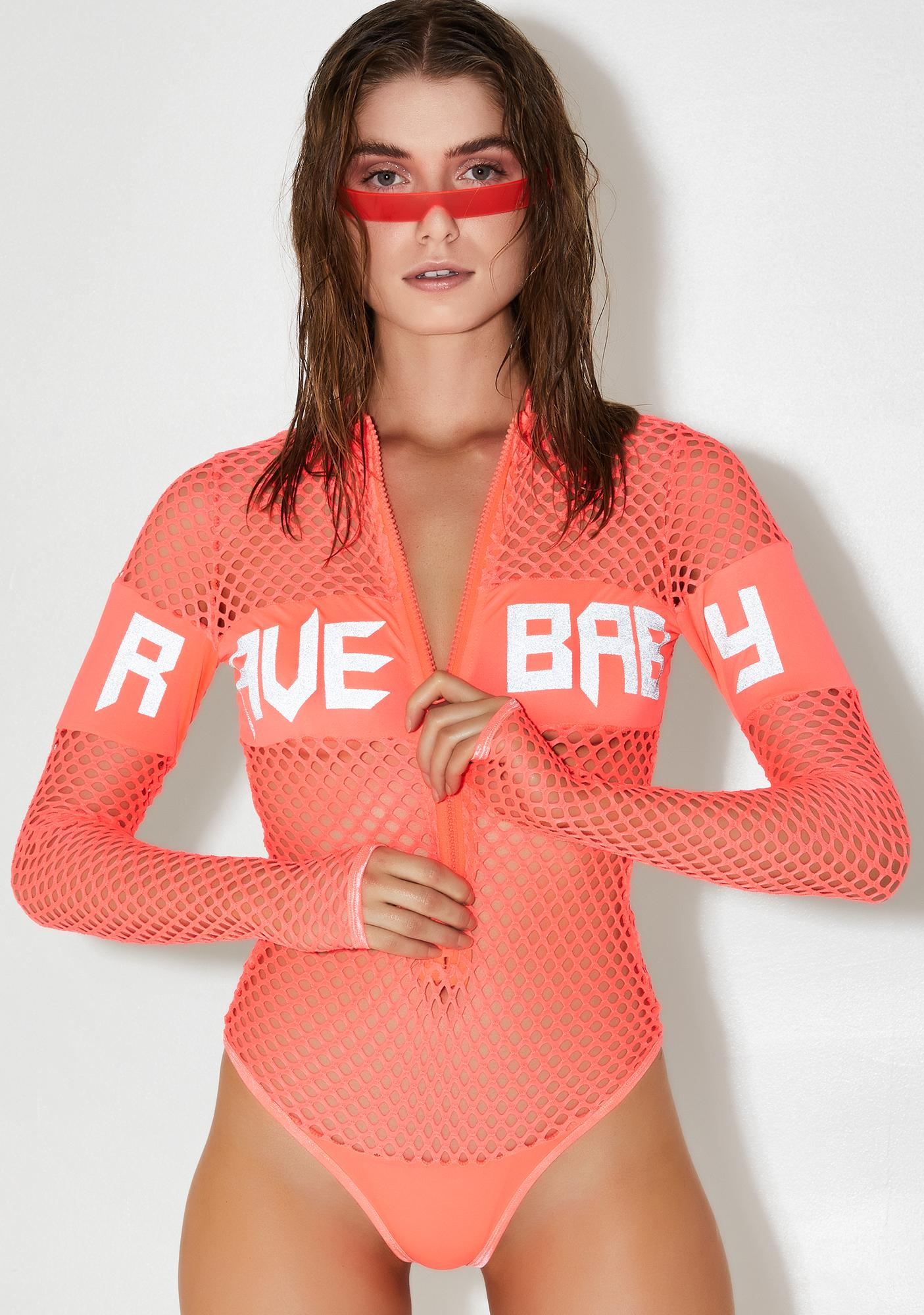 Club Exx Rave Baby Fishnet Bodysuit