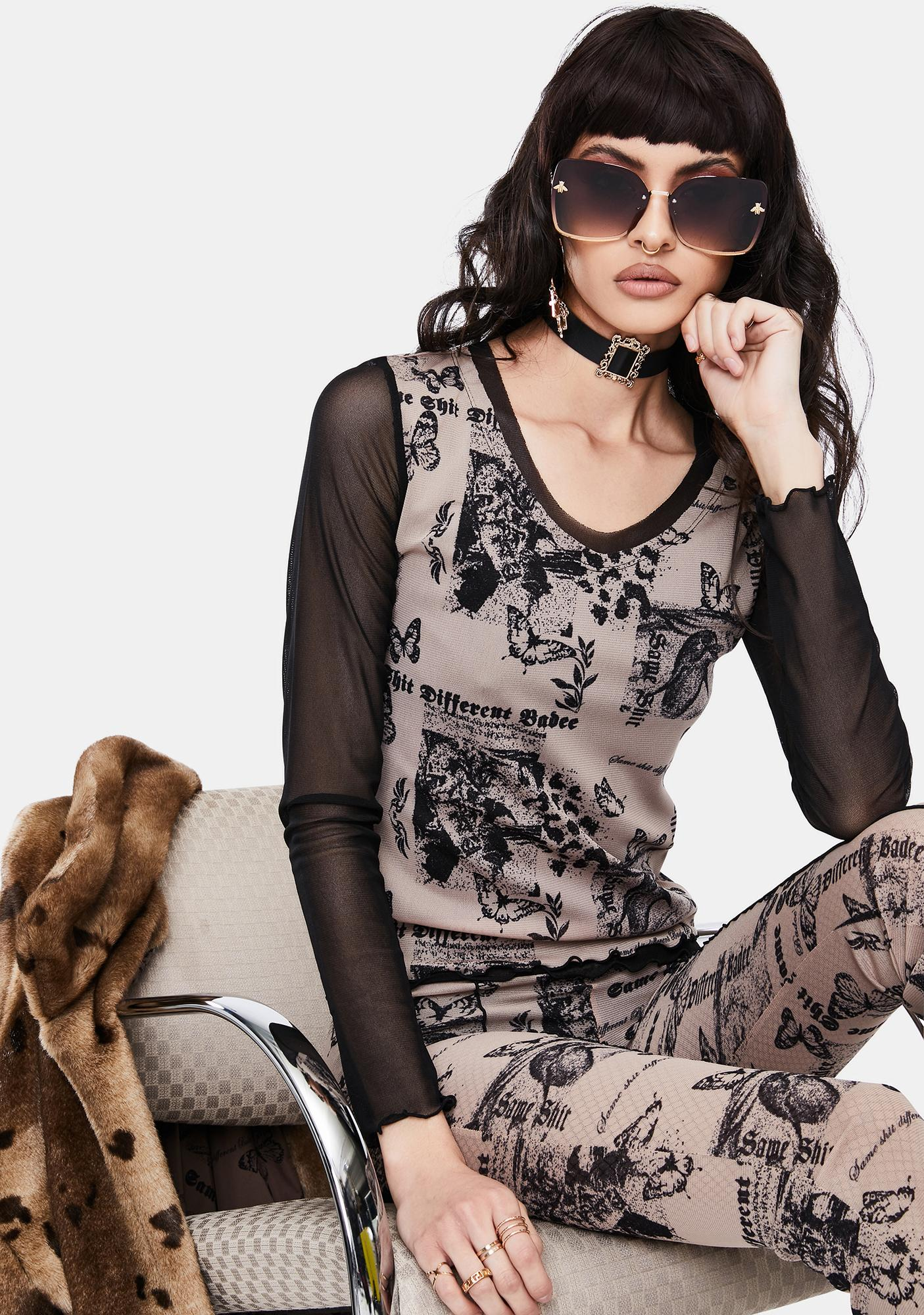 BADEE Butterfly Mesh Layered Top