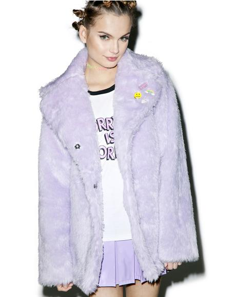 Pastel Faux Fur Coat