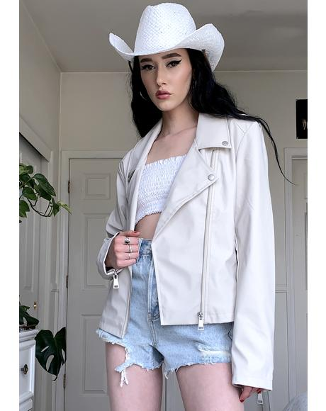 White Nylon Moto Jacket
