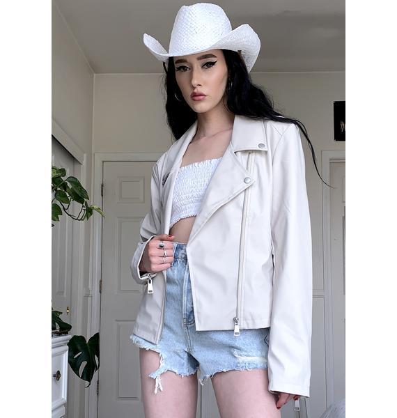 VIGOSS White Nylon Moto Jacket